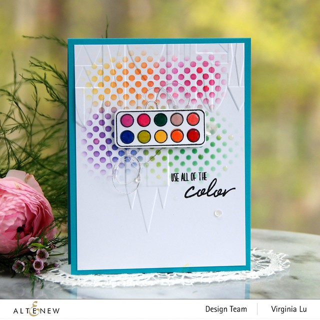 Altenew-MD Mini Paintbox-Geometric Castle 3D Embossing Folder -Feeling Dotty Stencil -001