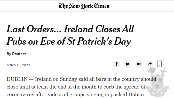 Covid 19, The Pub-pocalypse and Dublin By Pub in The New York Times