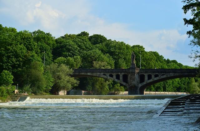 Munich - Isar Weir and Maximiliansbrücke