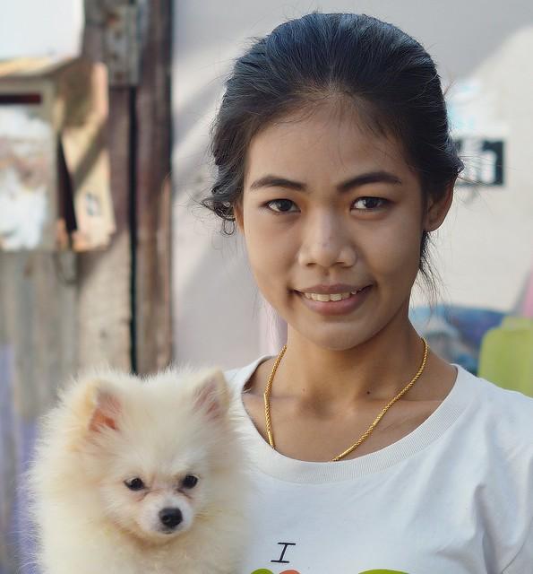 pretty woman with cute dog