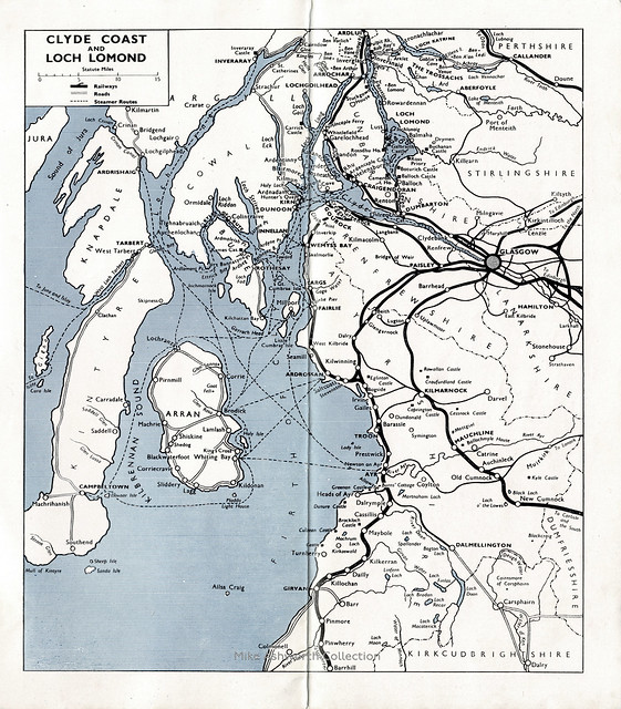British Railways (Scottish Region) : Cylde Coast and Loch Lomond - tourist brochure, 1950 - map