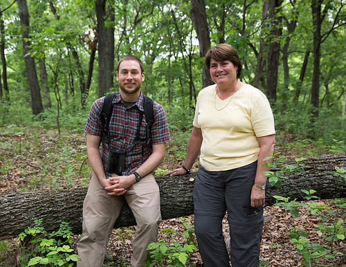 Fri, 05/17/2013 - 10:55 - Victoria Sork and Jonathan Myers next to a a Pignut Hickory (Carya glabra; Juglandaceae) that was knocked over in a windstorm in 2011 in the Tyson Forest Dynamics Plot. Thirty years earlier, this was the first tree tagged in the plot by Victoria's graduate student, Carol Hampe, in 1981.  PC: Jonathan Myers