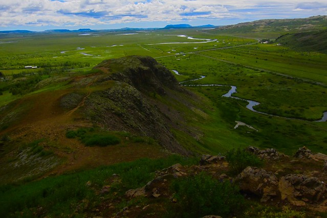 Iceland ~ Landmannalaugar Route ~  Ultramarathon is held on the route each July ~ Hiking from Camp along the ridge - Great view of the Valley BelowIceland ~ Landmannalaugar Route ~  Ultramarathon is held on the route each July ~ Hiking from Camp along the