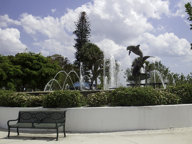A Peaceful Scene by the Dolphin Fountain in Marina Jack Park