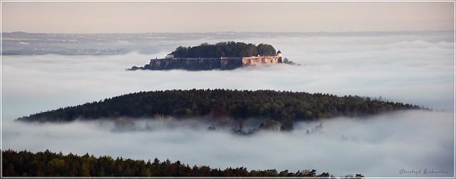 Blick über die Inselwelt der Sächsischen Schweiz