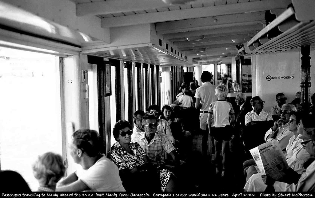 Passengers travelling to Manly aboard the 1922-built Manly Ferry Baragoola (upper deck).   A very Sydney experience.  At the time of this photo the Australian-built Baragoola had been working across Sydney Harbour for 58 years, and would still have another three years to go before her eventual 1983 retirement.  Photo by Stuart McPherson.    April 1980.