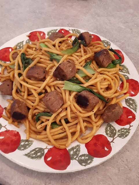 Noodles with Beefless Tips & Baby Bok Choy (Vegan)