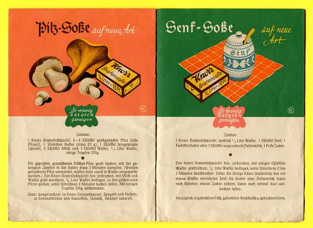 Werbeheftchen der Firma Knorr mit Soßenrezepten, Rezept 5 + 6
