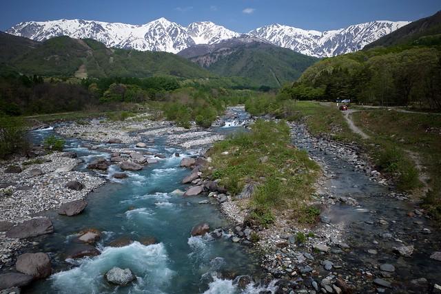 Hakuba mountains across the Matsukawa river in spring