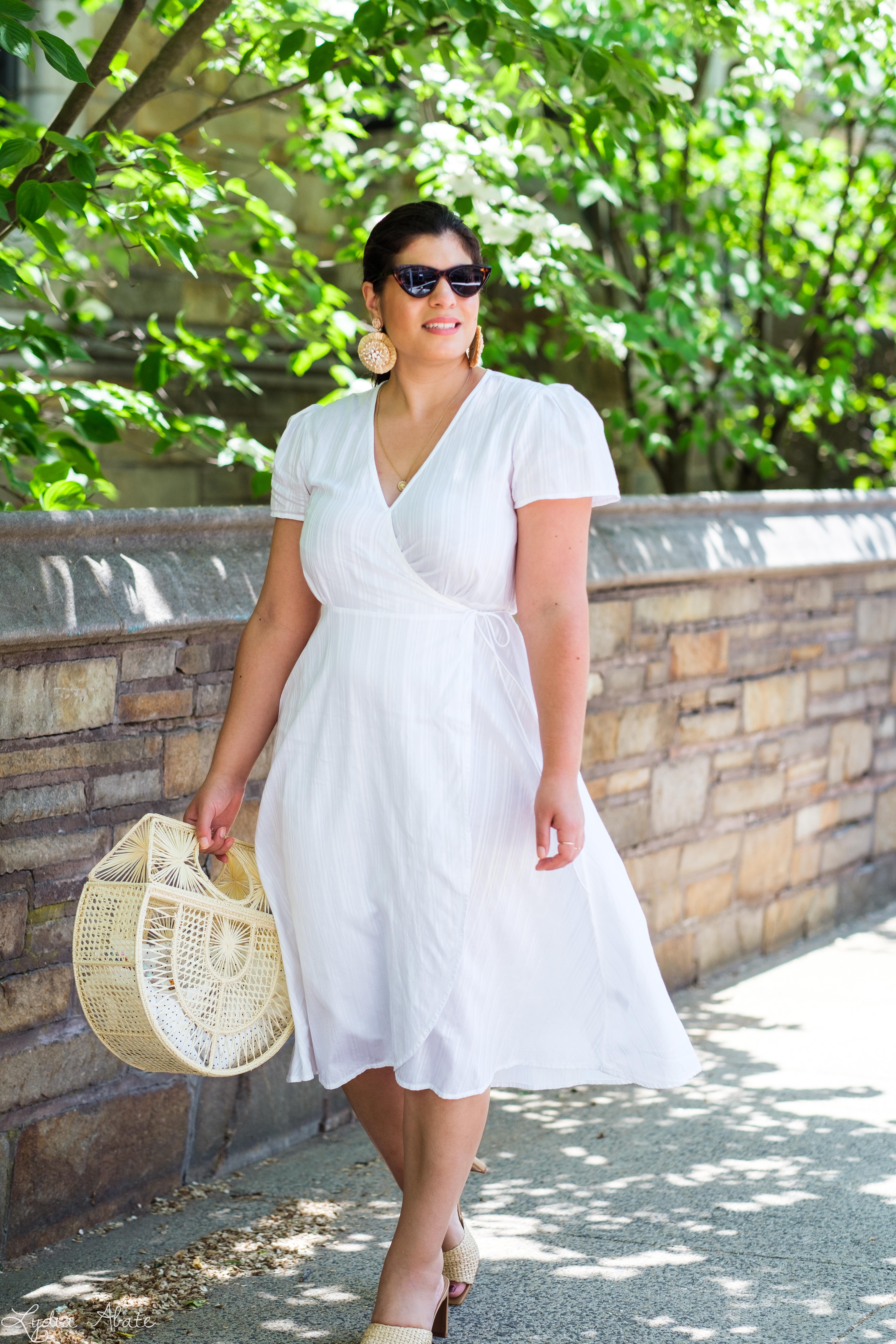 little white wrap dress, raffia basket bag, raffia heels-4.jpg