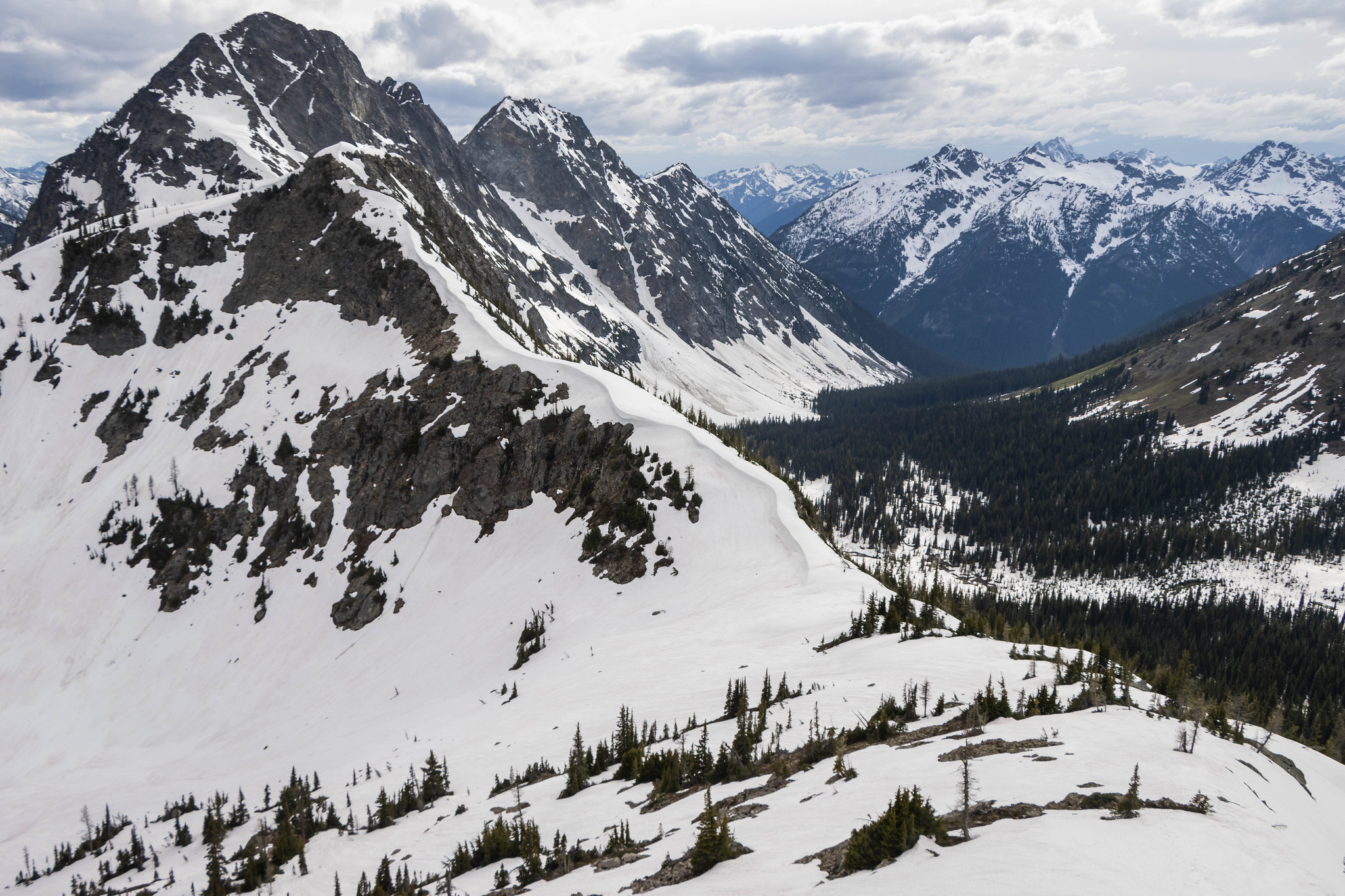Looking back at Copper Pass and Switchblade Peak