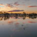 Ohmas Bay Sunset with Clouds, Pelicans and Reflections