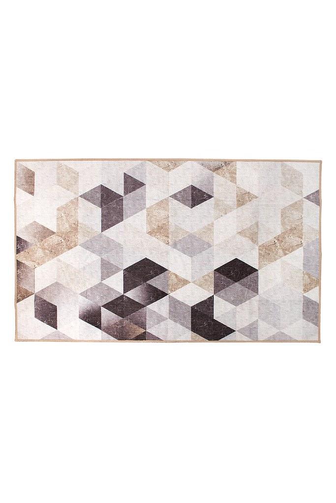 Lattice Geometric Neutral Washable Rug