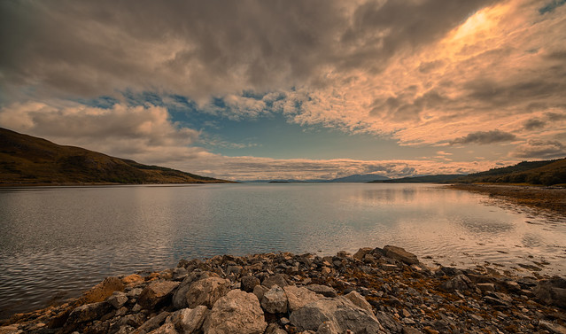Loch na Cairidh meets Inner Sound. Scalpay on the left, 5km from Broadford.  Skye, Scotland.