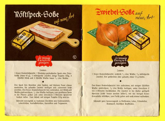 Werbeheftchen der Firma Knorr mit Soßenrezepten, Rezept 3 + 4