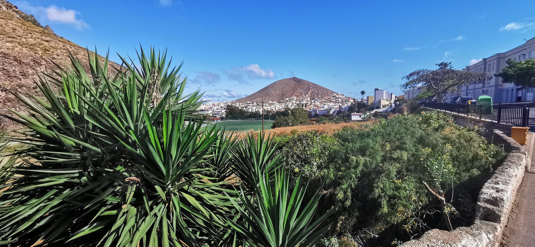 Vista de Santa Maria de Guia y cono volcánico de montaña de Gáldar Gran Canaria