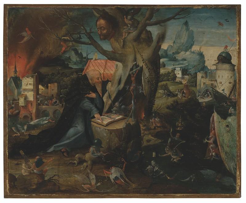 Follower of Hieronymus Bosch - Temptation of Saint Anthony, 16th-17th Century