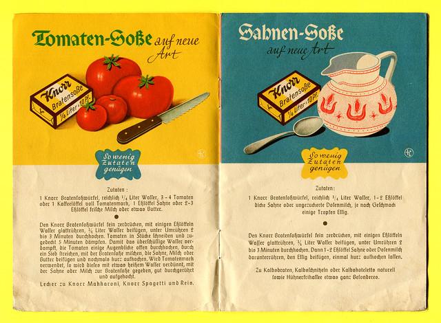 Werbeheftchen der Firma Knorr mit Soßenrezepten, Rezept 1 + 2