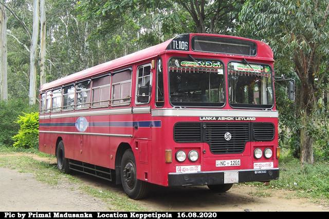 NC-1201 Talangama Depot Ashok Leyland - Viking 210 Turbo B+ type bus at Keppetipola in 16.08.2020