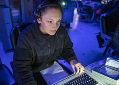 Operations Specialist Seaman Apprentice Abigail Talton tracks surface contacts during operations aboard USS Rafael Peralta (DDG 115) in the Sea of Japan, June 14. (U.S. Navy/MC3 Daniel Serianni)