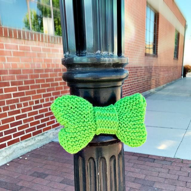 Green Bow Yarn Bomb