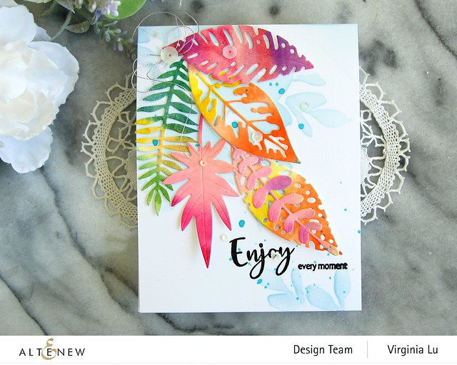 Altenew-Tropical Leaf Mix Die Set-Floral Drape Stencil-Simply Spring Stamp Set-002 (2)