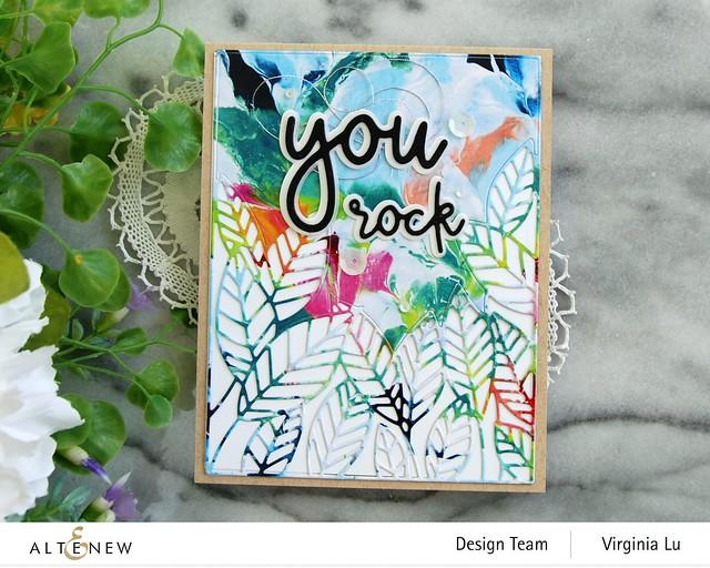 Altenew-Peeking Leaves Cover Die-All about You Die Set-Rainbow Blots Paper Pad -002