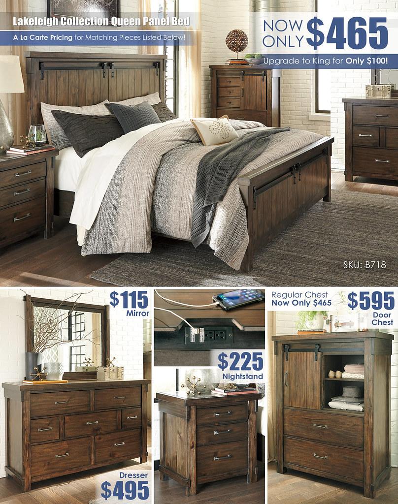 Lakeleigh Queen Reg Bed Layout_Door Chest_B718-158-MOOD-H-B_June 2021
