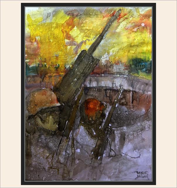 FLAKTURM-BERLIN-ARTE-PINTURA-ART-FLAK TOWER-BATALLA DE BERLIN-BUNQUER-ARTILLERIA-ANTIARERA-SOLDADOS-ALEMANES-ACUARELAS-ARTISTA-PINTOR-ERNEST DESCALS-