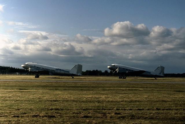 Spanish Air Force Douglas C-47A Dakotas T.3-2 and T.3-27 seen at Blackbushe