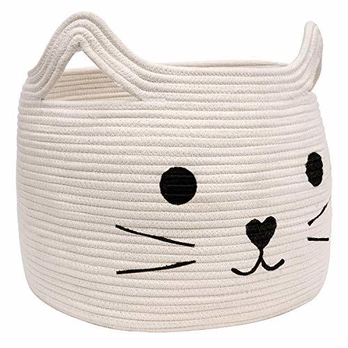 HiChen Lovely Cat Face Shape Basket, Large Woven Cotton Rope Storage Basket - 15.7