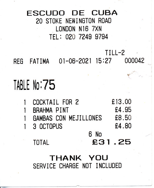 IMG_0003 London Dalston Stoke Newington Road Escudo De Cuba Cuban Bar and Restaurant Octopus £4.80; Gambas Con Mejillones Shrimp and Mussels Seafood £8.50