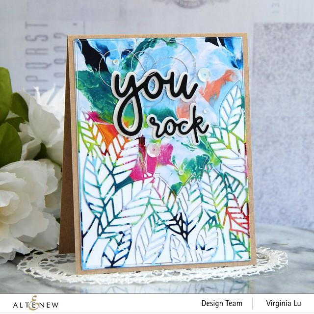 Altenew-Peeking Leaves Cover Die-All about You Die Set-Rainbow Blots Paper Pad