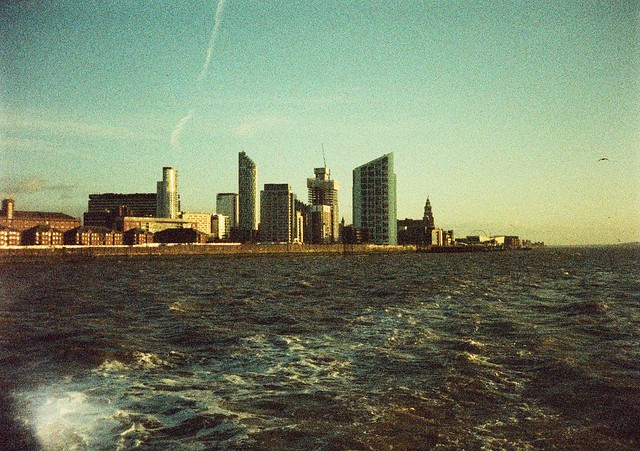 Mersey ferry looking back to Liverpool