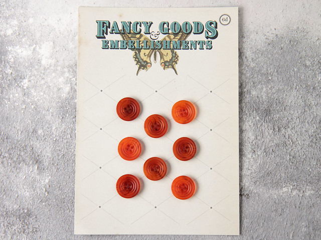 Set of 8 vintage orange-tan medium plastic ridged buttons – 15mm