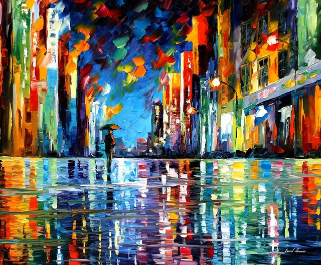 REFLECTIONS OF THE BLUE RAIN — oil painting on canvas