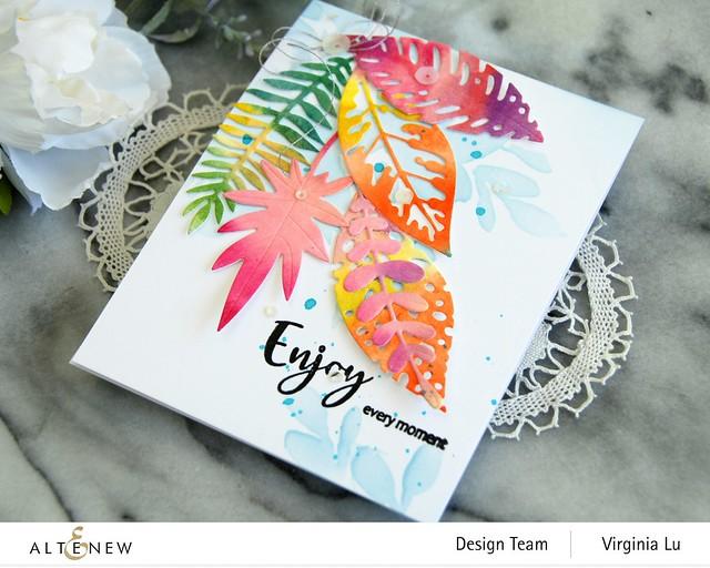 Altenew-Tropical Leaf Mix Die Set-Floral Drape Stencil-Simply Spring Stamp Set-001