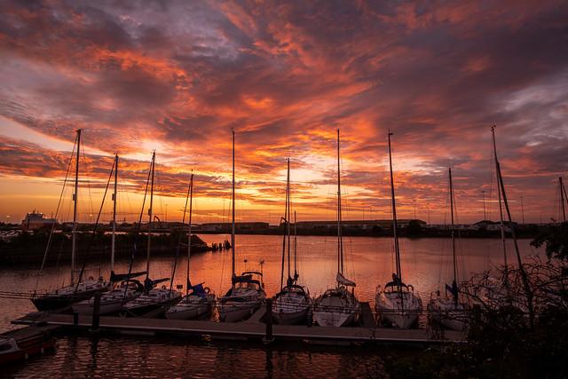Sunset was a corker over Alexandra Dock last night