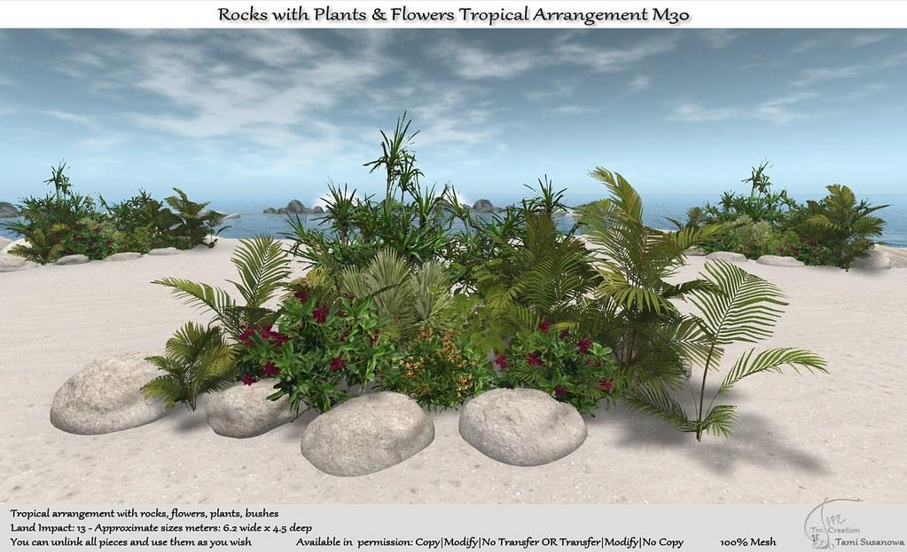 .:Tm:.Creation Tropical Flowers Rocks Arrangement M30