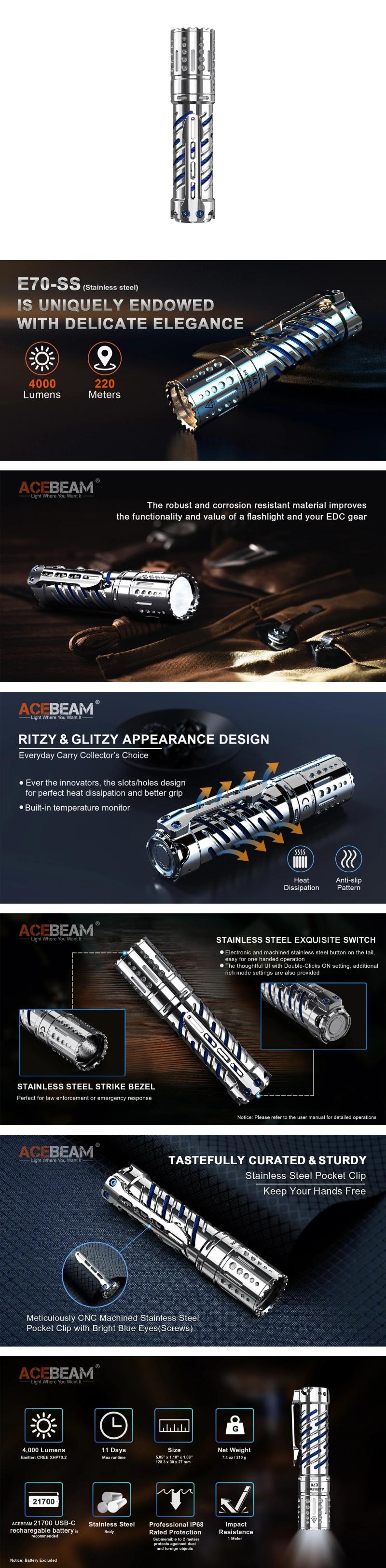 【錸特光電】ACEBEAM E70-SS 不銹鋼 精品工藝 高亮泛光 4000 流明 戰術手電筒 CREE XHP70.2 (2)-down