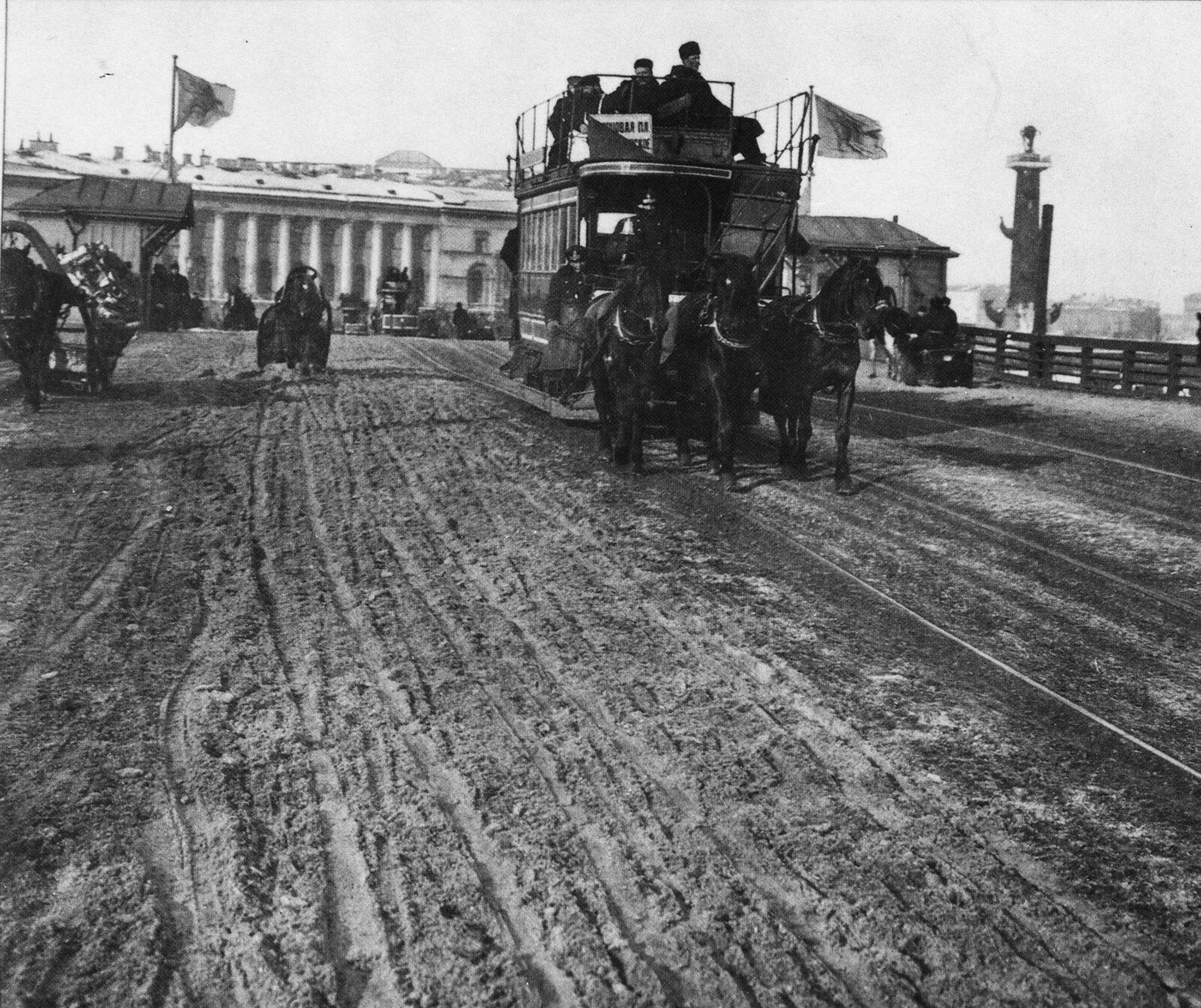 1900-е. Конка на Дворцовом мосту
