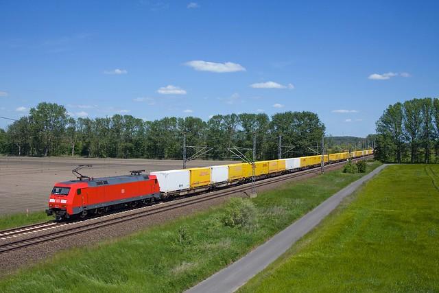 DB 152 115 + DHL Güterzug/goederentrein/freight train  - Trebbin