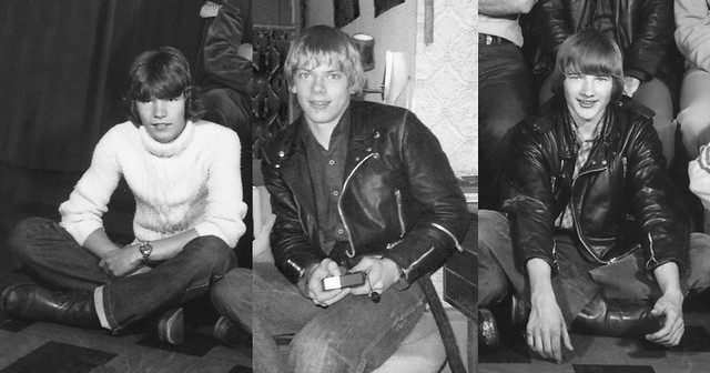 3 cheeky Danish teenagers from the 1970's in the topfashion wear, biker leather jackets and tall boots.