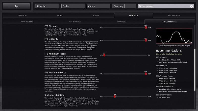 RaceRoom Force Feedback UI update