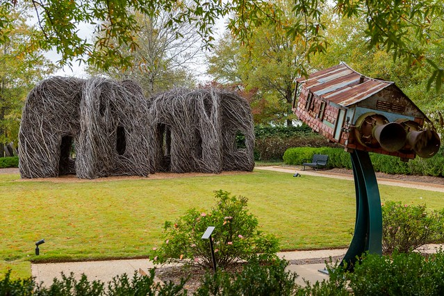 Outdoor sculptures at the Jule Collins Smith Museum of Fine Art.