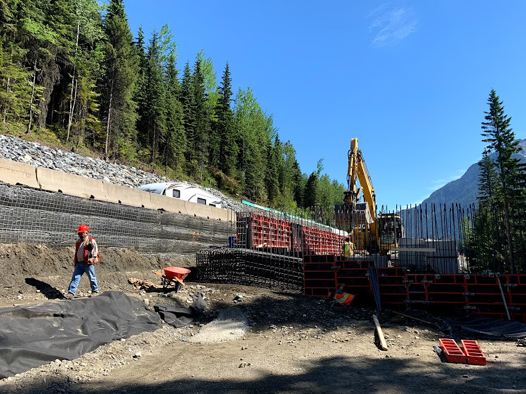 Construction work at the Illecillewaet Brake Check and Four--laning expansion