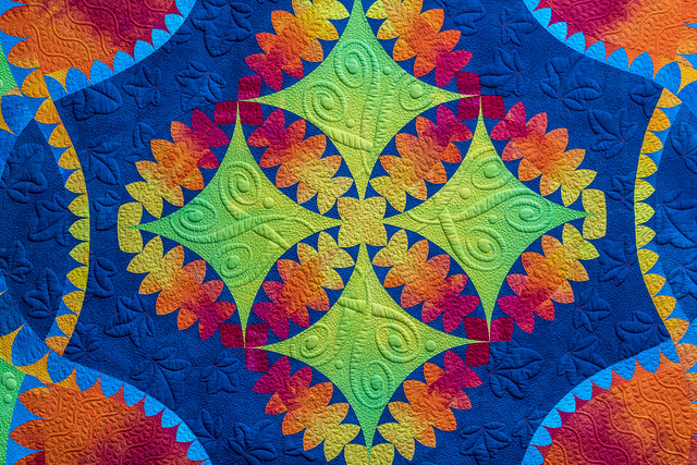 Dynamic symmetry grid in this quilted abstraction