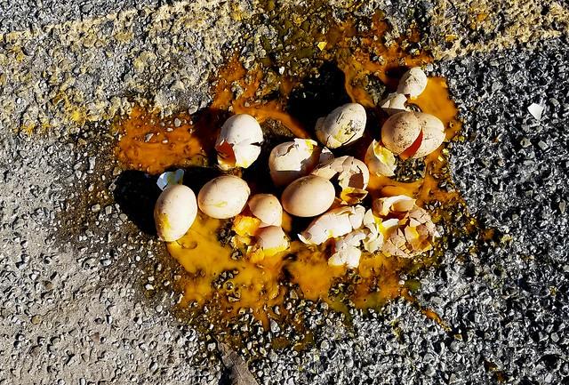Cluster of broken eggs