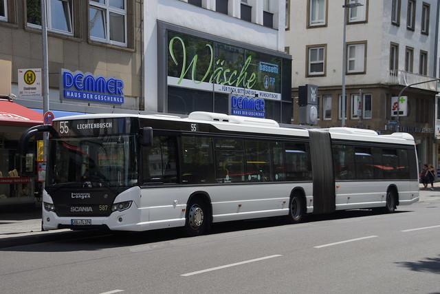 Scania Citywide LFA Verkehrsbetriebe Langen / ASEAG 587 met kenteken JÜL-TL 174 als lijn 55 naar Lichtenbusch bij bushalte Elisenbrunnen in Aachen 16-06-2021