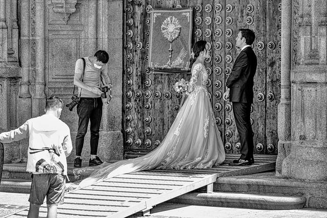 Scene from a wedding b&w